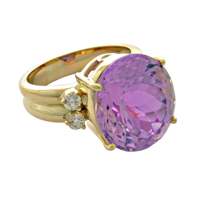 Ring-Kunzite and Diamond