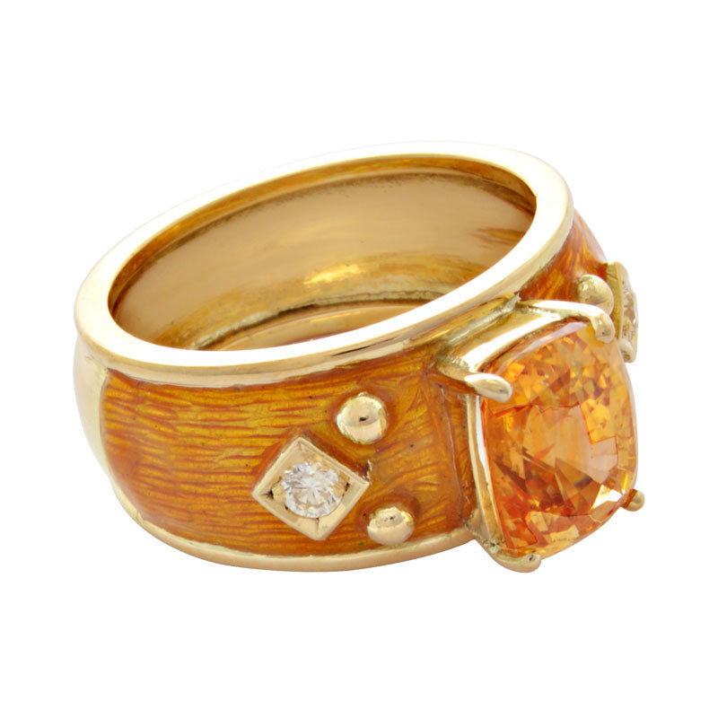 Ring-Yellow Sapphire and Diamond (Enamel)