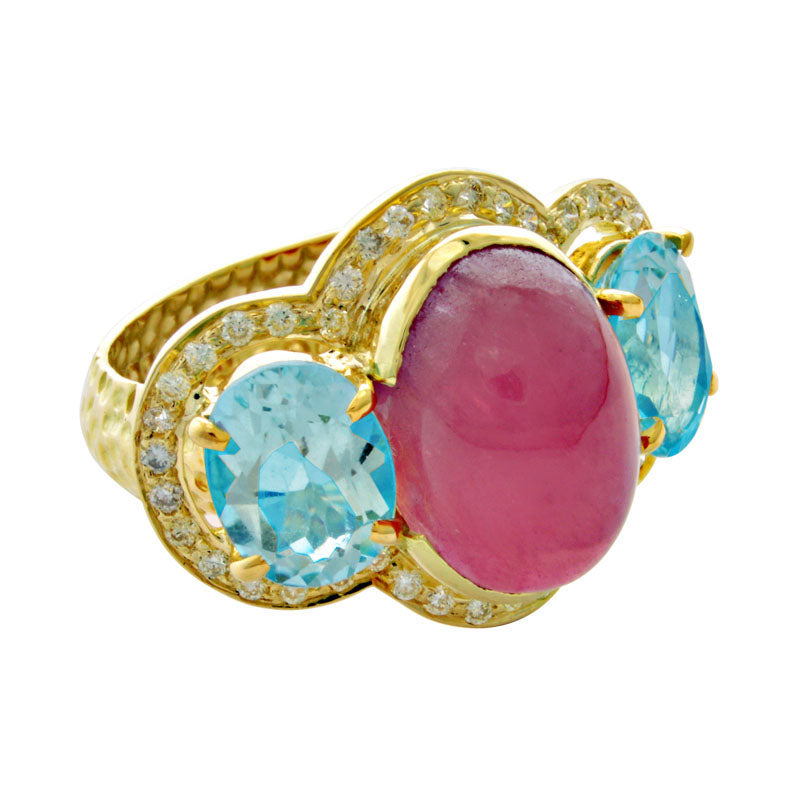 Ring-Rubellite, Blue Topaz and Diamond