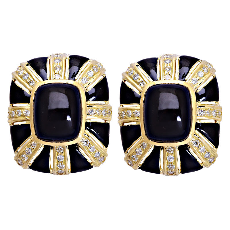 Earrings-Black Onyx and Diamond (Enamel)