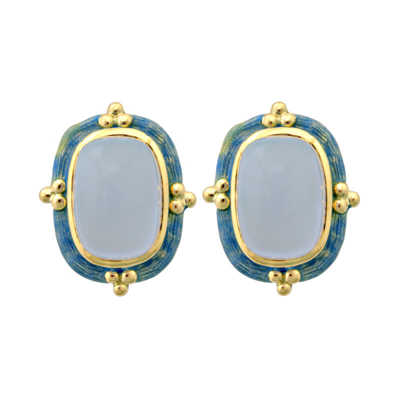 Earrings-Chalcedony (Enamel)