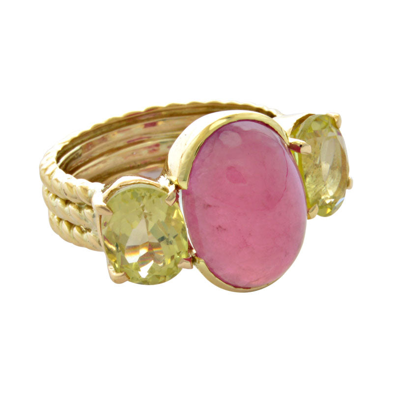Ring-Rubellite and Lemon Quartz