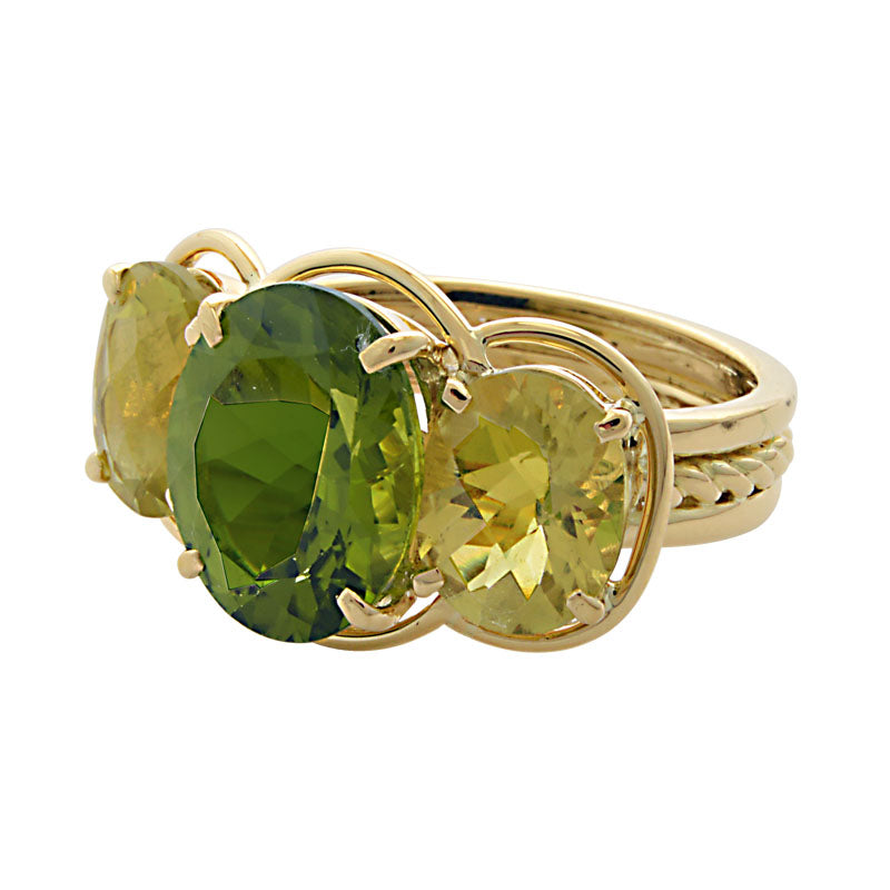 Ring-Peridot and Lemon Quartz