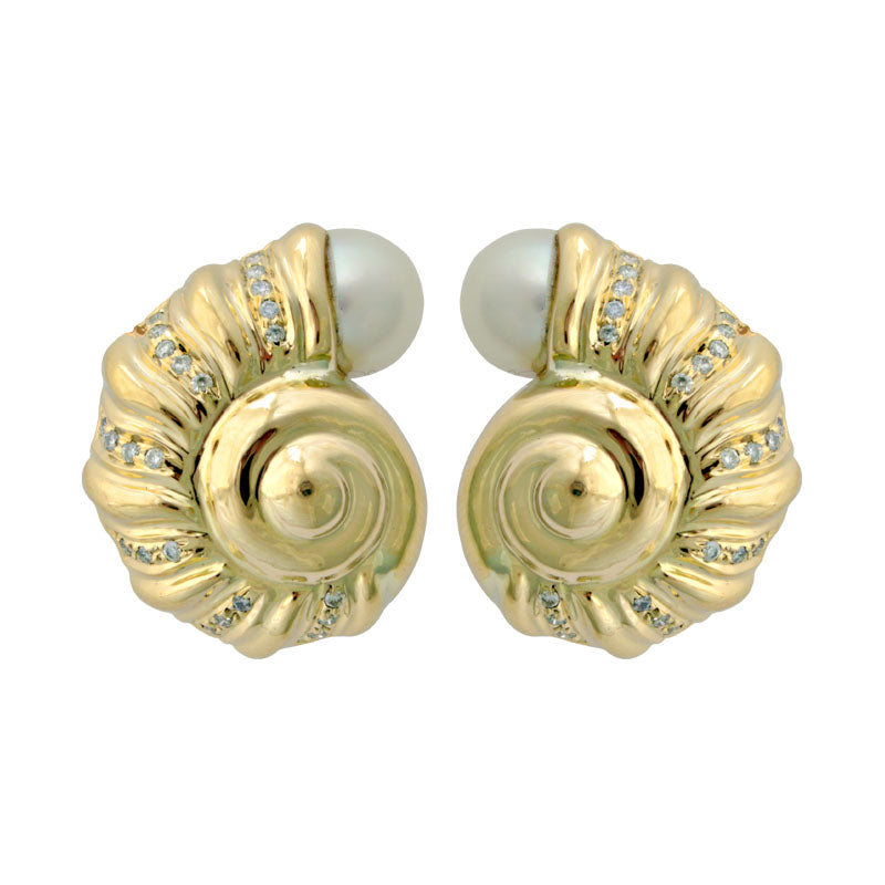 Earrings-Pearl and Diamond
