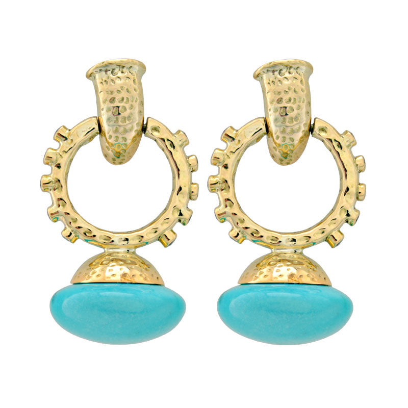 Earrings-Turquoise and Diamond