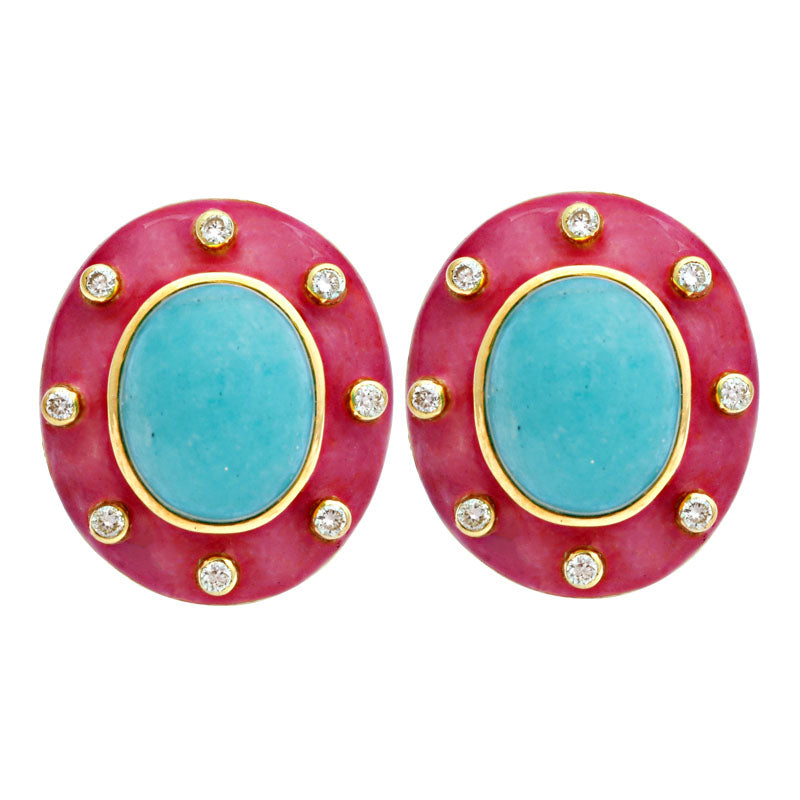 Earrings-Amazonite and Diamond (Enamel)