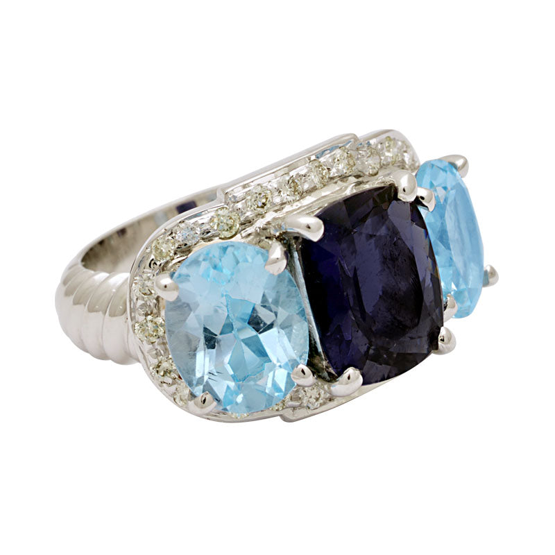 Ring-Iolite, Blue Topaz and Diamond