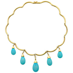 Necklace-Synthetic Turquoise and Diamond