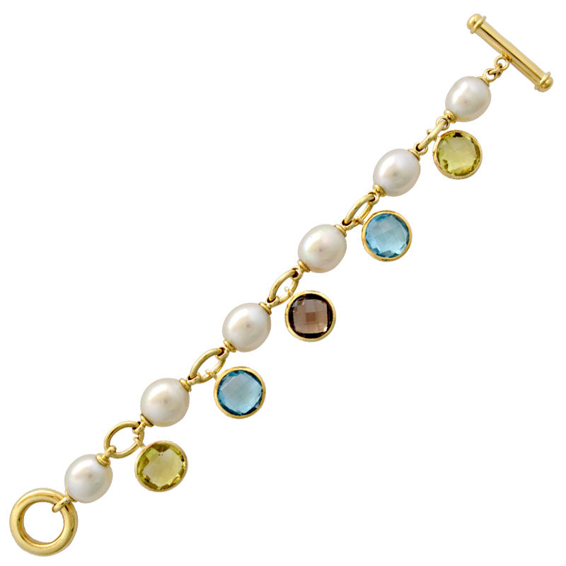 Bracelet-Smokey Quartz, Blue Topaz, Lemon Quartz and Pearl