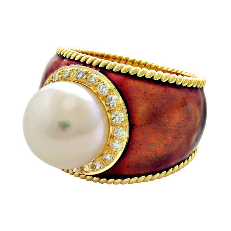 Ring-Pearl and Diamond (Enamel)
