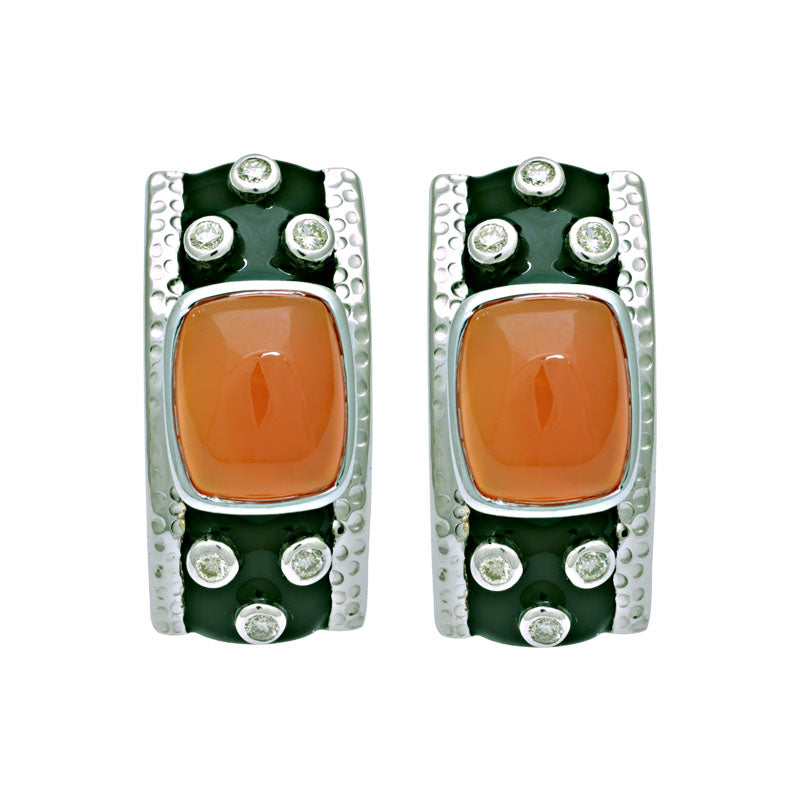 Earring-Cornelian and Diamond (Enamel)