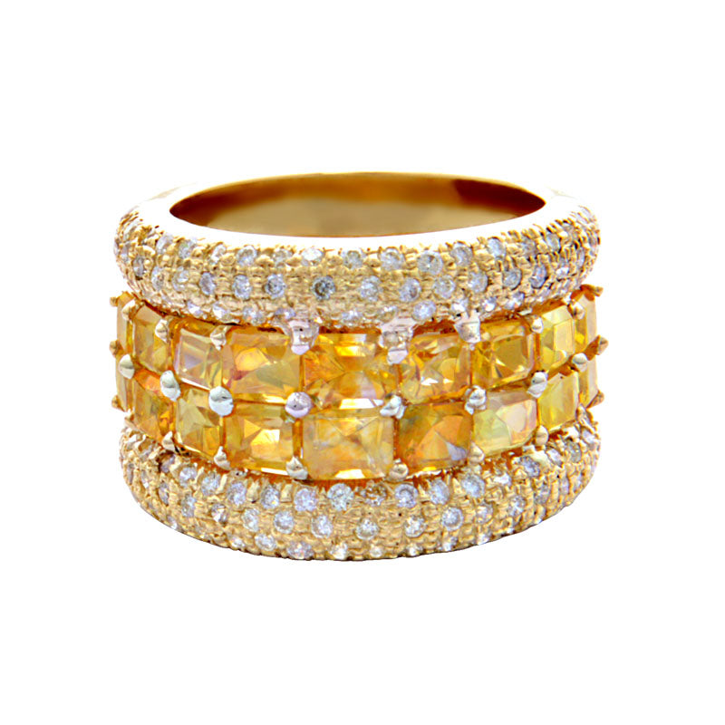 Ring-Yellow Sapphire and Diamond