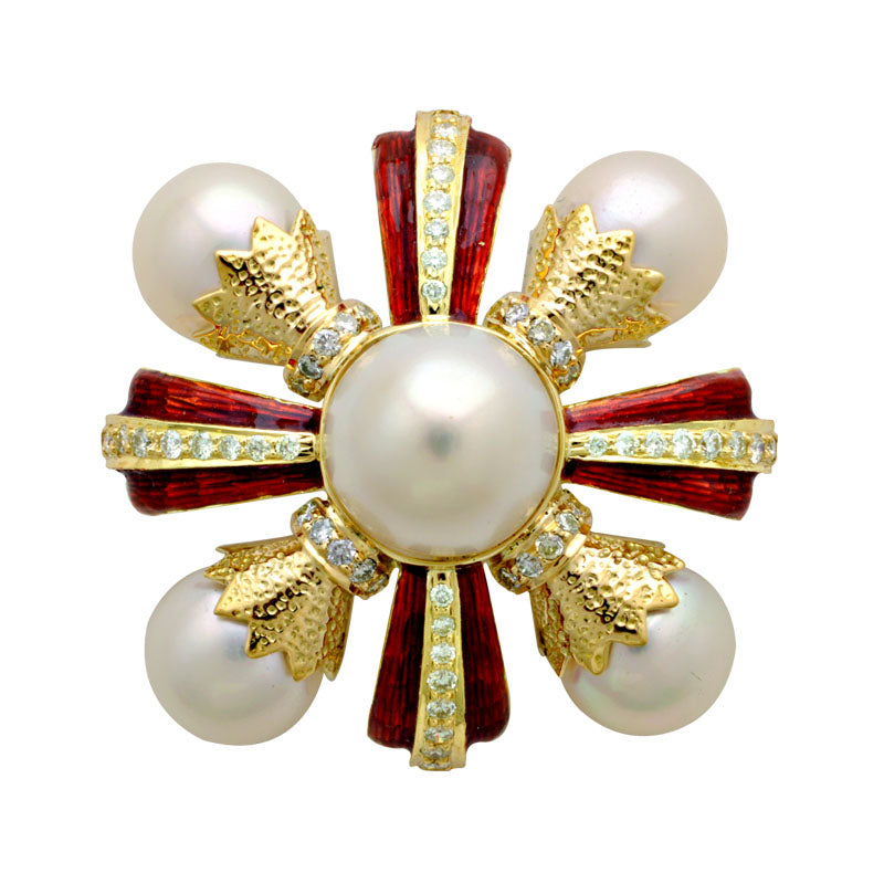 Brooch-South Sea Pearl and Diamond (Enamel)