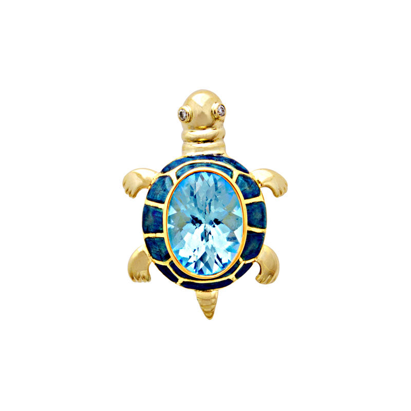 Brooch-Blue Topaz and Diamond (Enamel)