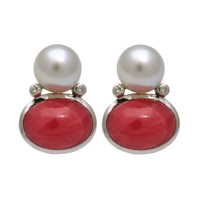 Earrings-Rhodocrosite, South Sea Pearl and Diamond