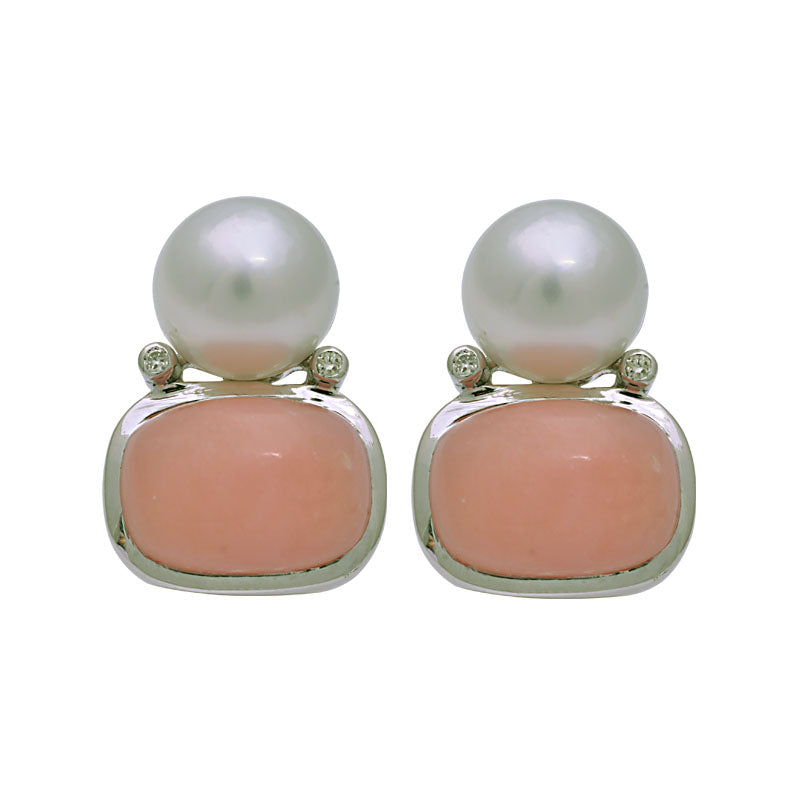 Earrings-South Sea Pearl, Pink Opal and Diamond