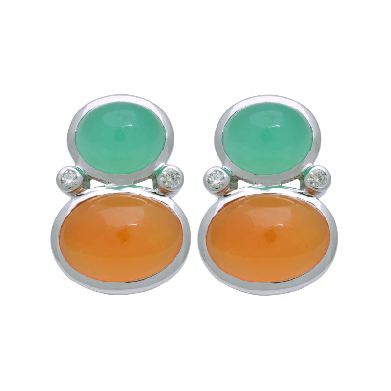 Earrings-Chrysoprase, Cornelian and Diamond