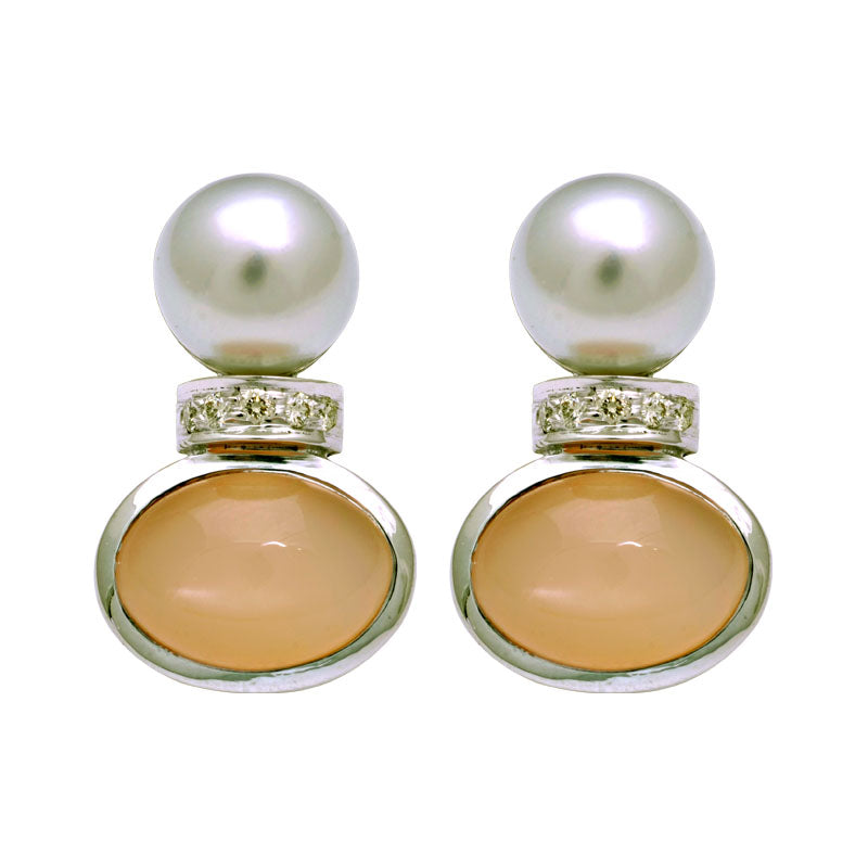 Earrings-South Sea Pearl, Pink Moonstone and Diamond