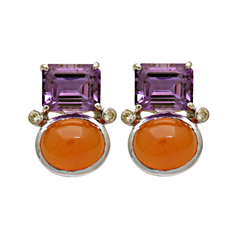 Earrings-Amethyst, Cornelian and Diamond