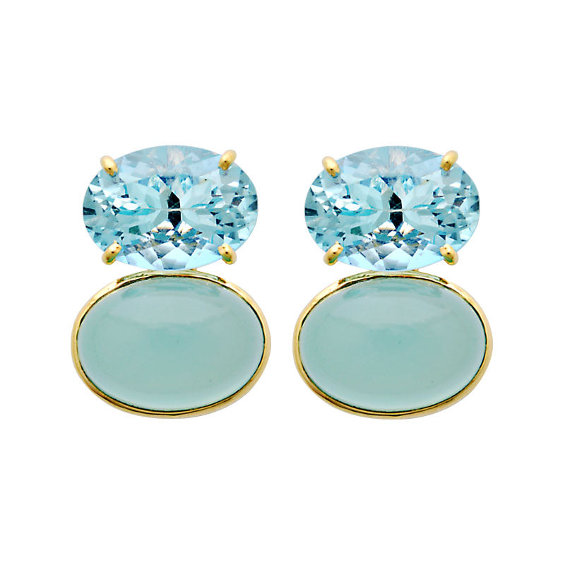 Earrings-Blue Topaz and Chalcedony