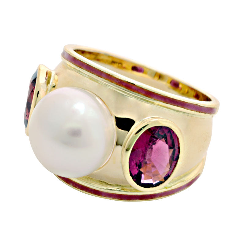 Ring-Rubellite and South Sea Pearl (Enamel)