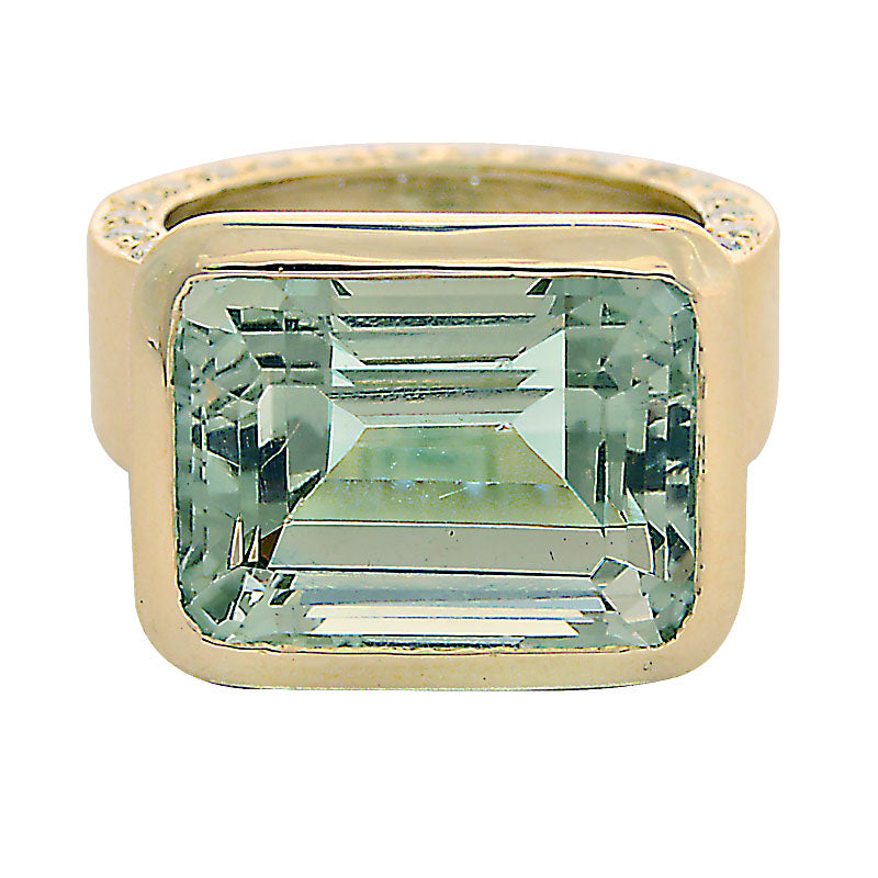 Ring-Green Quartz and Diamond