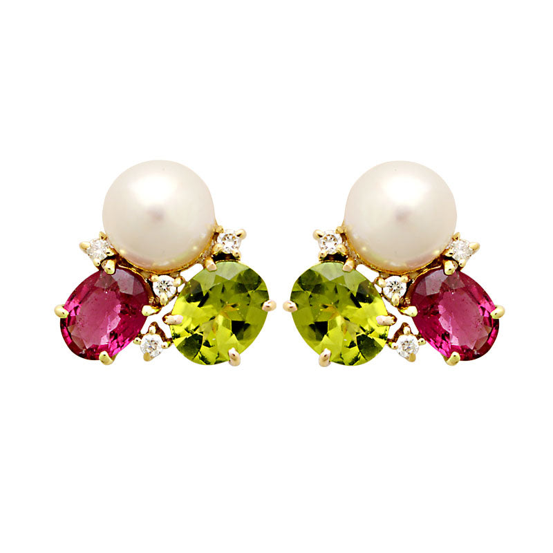 Earrings-Rubellite, Peridot, South Sea Pearl and Diamond