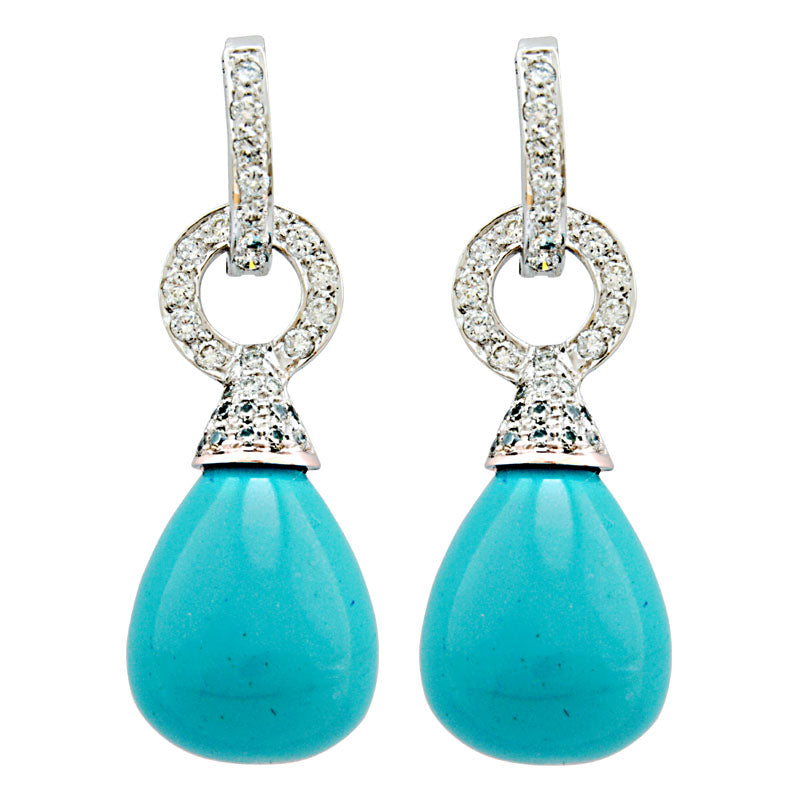 Earrings-Turquoise (Synthetic) and Diamond