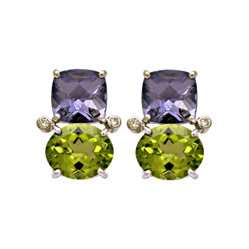 Earrings-Iolite, Peridot and Diamond