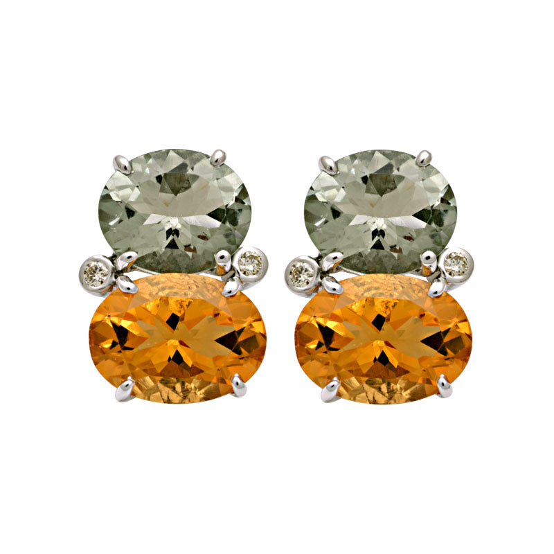 Earrings-Green Quartz, Citrine and Diamond