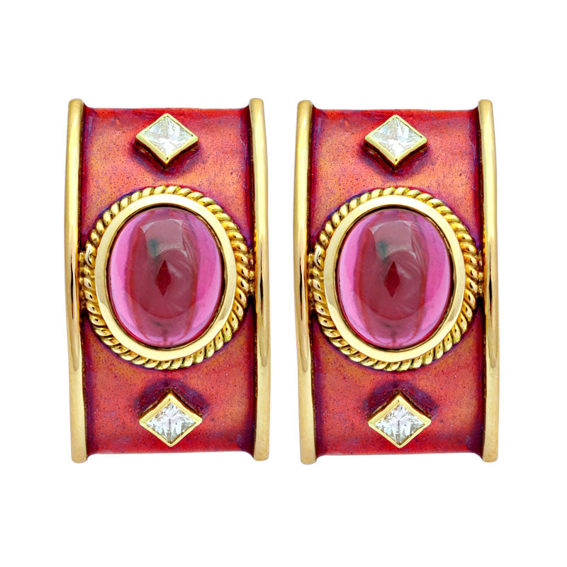 Earrings-Rubellite and Diamond (Enamel)