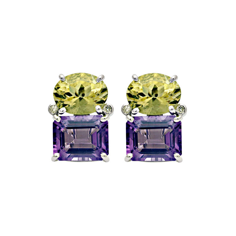 Earrings-Lemon Quartz, Amethyst and Diamond