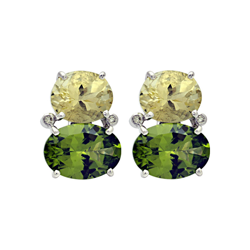 Earrings-Lemon Quartz, Peridot and Diamond