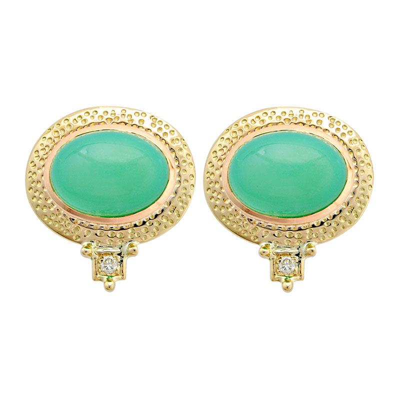 Earrings-Chrysoprase and Diamond