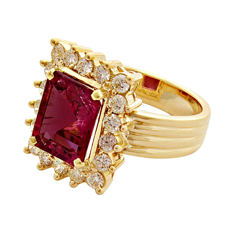 Ring-Rubellite and Diamond