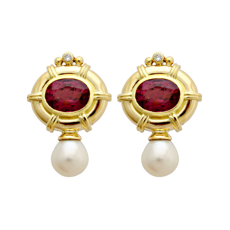 Earrings-Rubellite, Fresh Water Pearl and Diamond