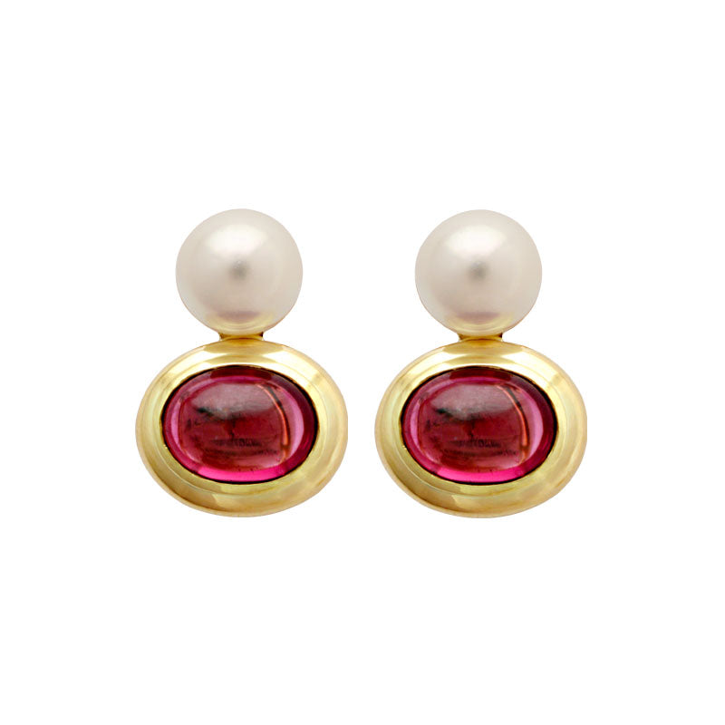 Earrings-Rubellite and South Sea Pearl