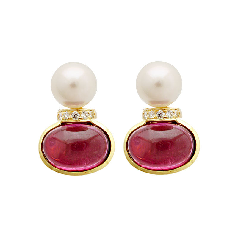 Earrings-South Sea Pearl, Rubellite and Diamond