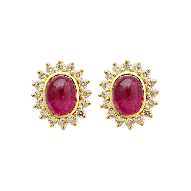 Earrings-Rubellite and Diamond