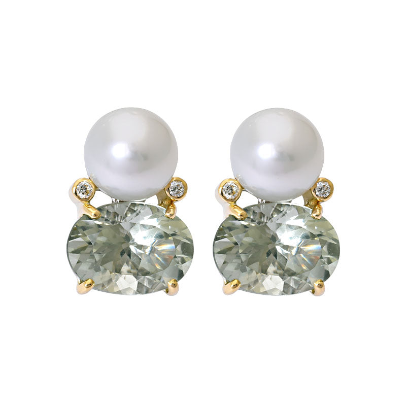 Earrings- Green Quartz, South Sea Pearl and Diamond