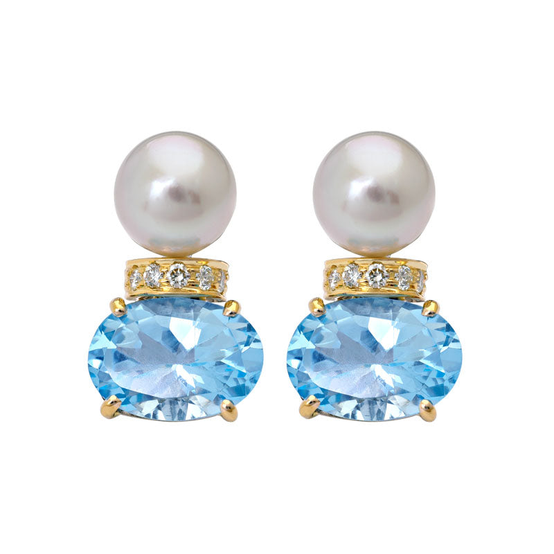 Earrings- Blue Topaz, South Sea Pearl and Diamond