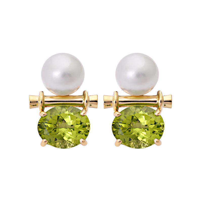 Earrings- Peridot and South Sea Pearl