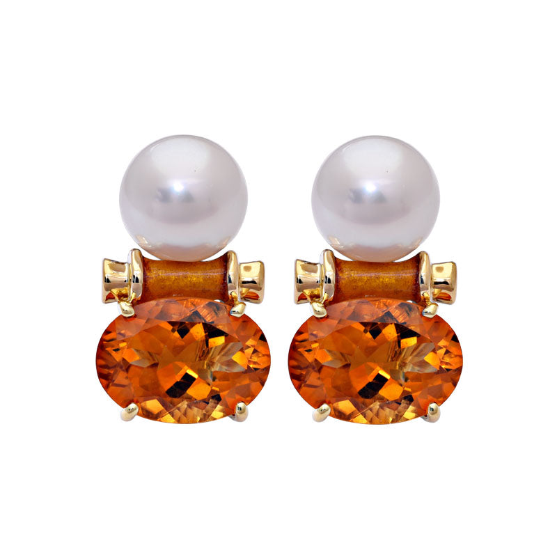 Earrings- Citrine and South Sea Pearl (Enamel)