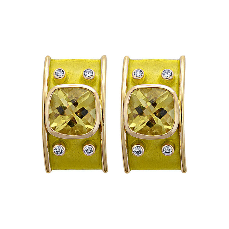 Earrings-Lemon Quartz and Diamond (Enamel)