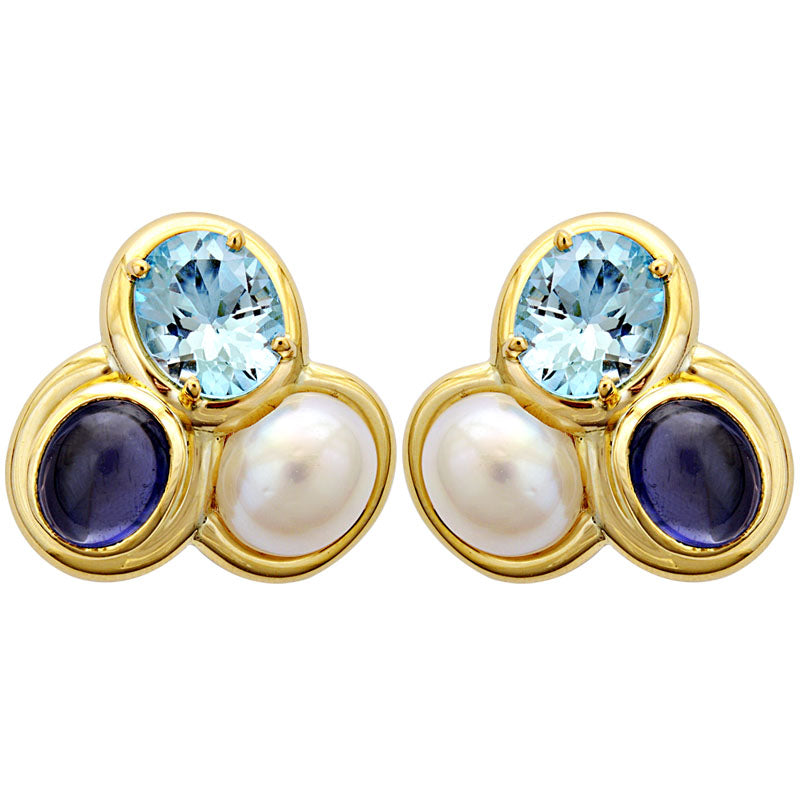 Earrings-Blue Topaz, Iolite and South Sea Pearl