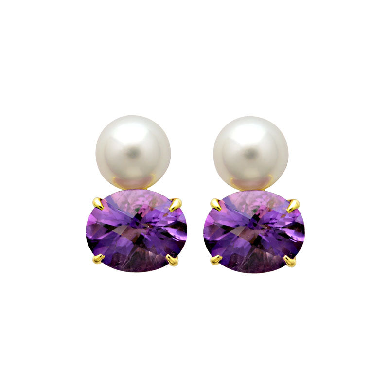 Earrings-Amethyst and South Sea Pearl