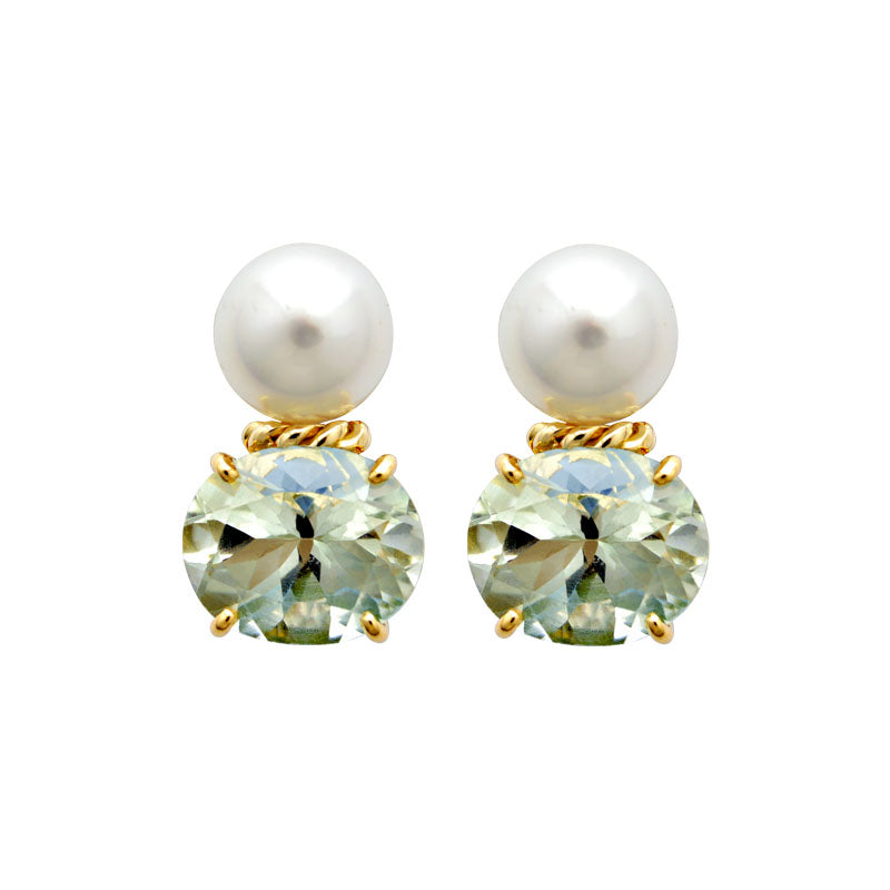 Earrings-Green Quartz and South Sea Pearl