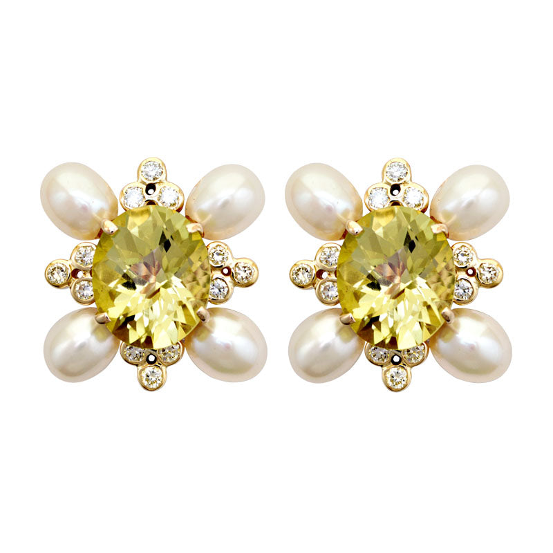 Earrings-Lemon Quartz, Fresh Water Pearl and Diamond