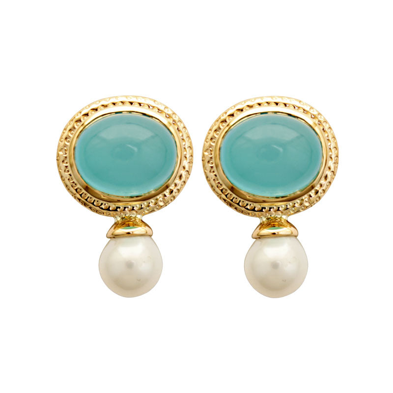 Earrings-Chalcedony and Fresh Water Pearl