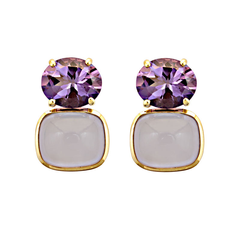 Earrings-Amethyst and Chalcedony